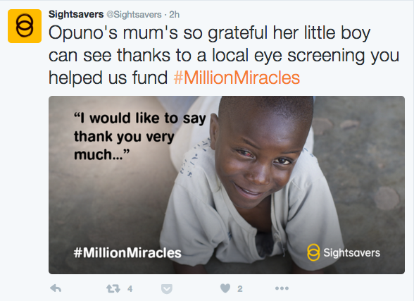 Sightsavers Tweet